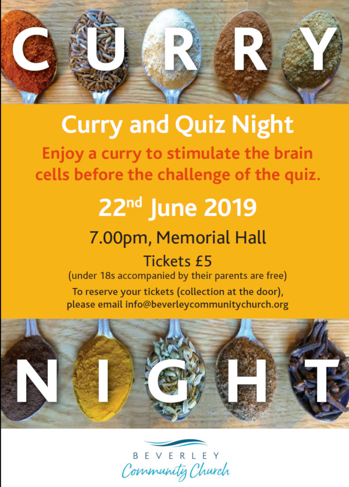 Curry & Quiz Night in Beverley, East Yorkshire.