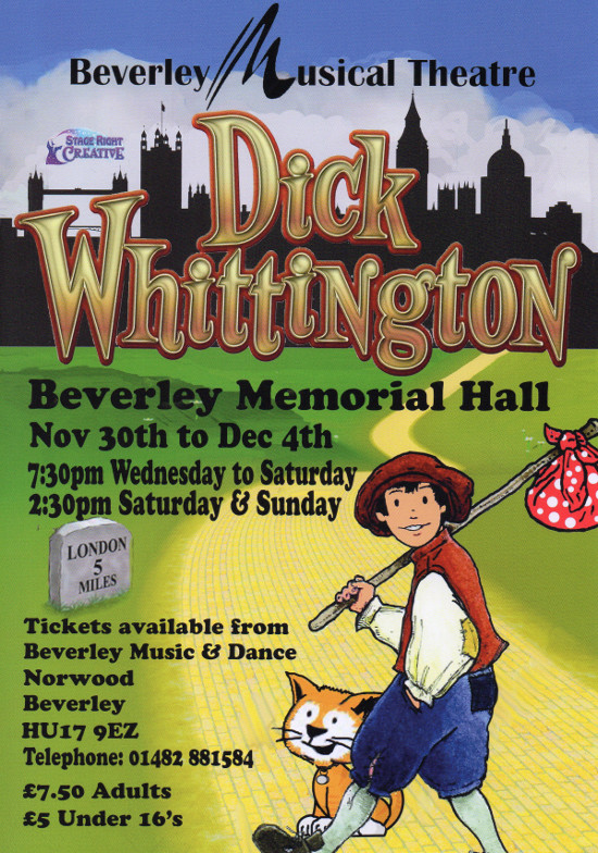 poster: Dick Whittington Pantomime in Beverley Nov 2016