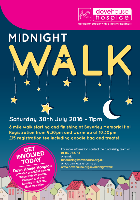 Dovehouse Hospice, Charity Midnight Walk Beverley Memorial Hall