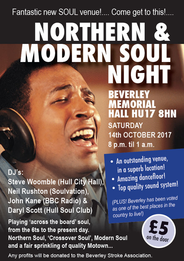 Northern & Modern Soul Night in Beverley, East Yorkshire. Outstanding Venue, Amazing Dance-Floor.