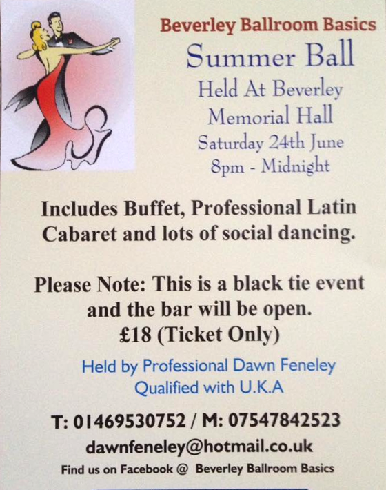 Mid Summer Ball - includes buffet & Professional Latin Caberet.