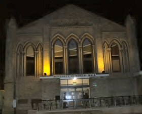 Beverley Memorial Hall at night.